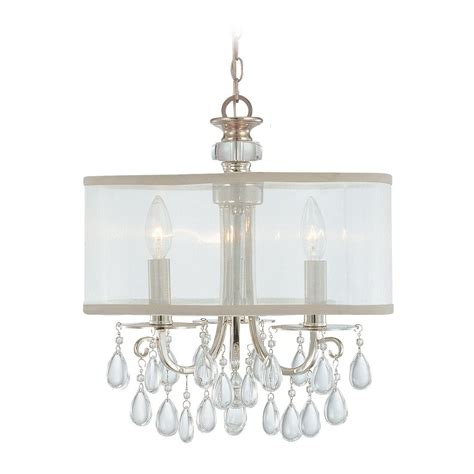 Crystal Mini Chandelier With White Shade In Polished Mini Shade Chandelier