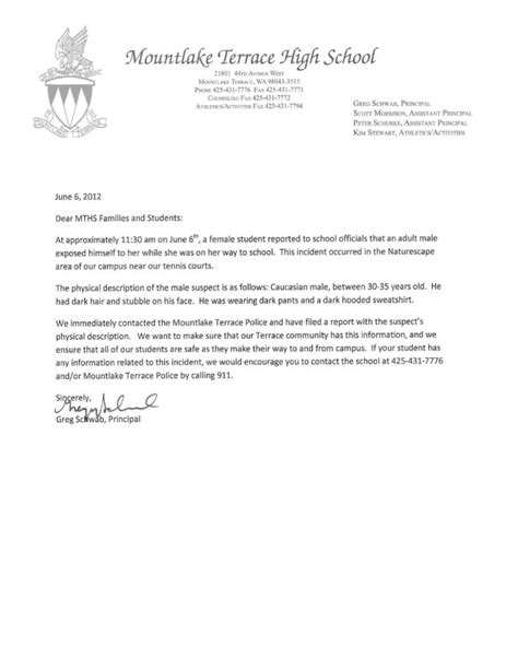 Letter To Principal Exposes Himself To Mths Student On Way To School Wednesday Mltnews