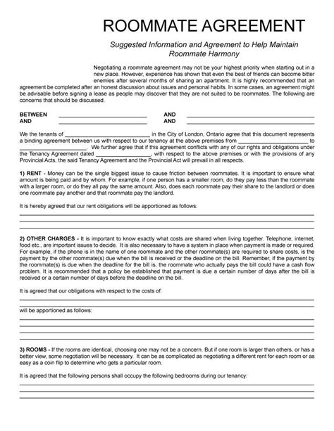 Roommate Agreement Template 11 Lease Pinterest Roommate Agreement Roommate And Future College Roommate Contract Template