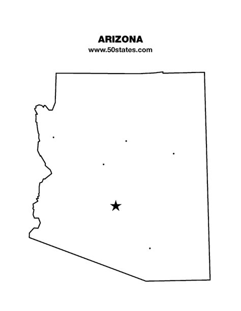 printable map arizona us states on map capitals with state abbreviations