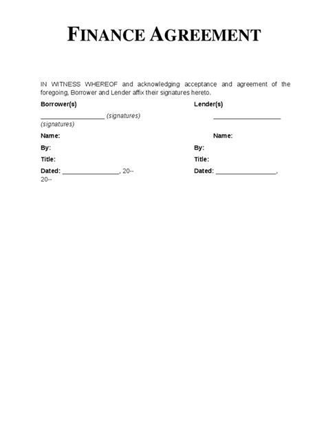 28 finance agreement template financial agreement