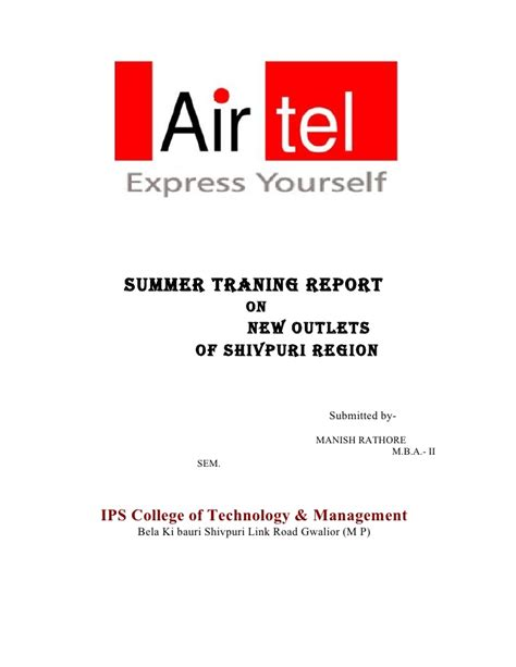 Airtel Project Report Mba by Airtel Project Report