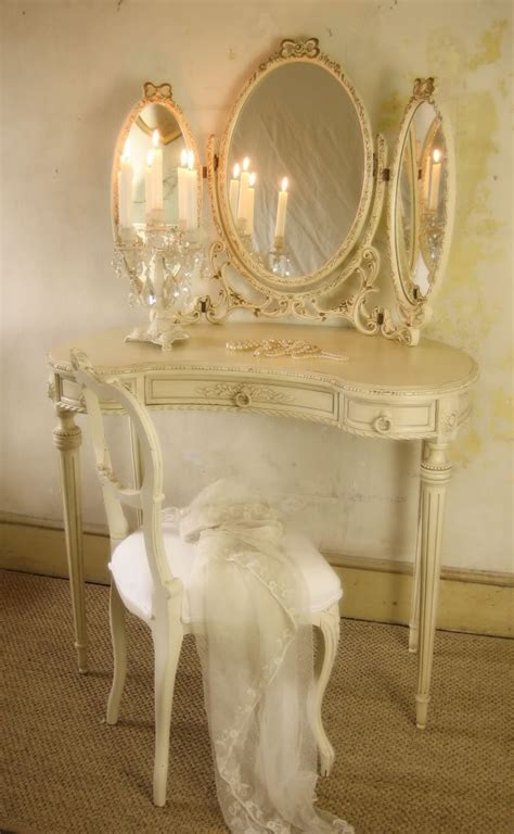 Shabby Chic Vanity Table Louis Dressing Table And Mirror Vanities And Vignettes Pin