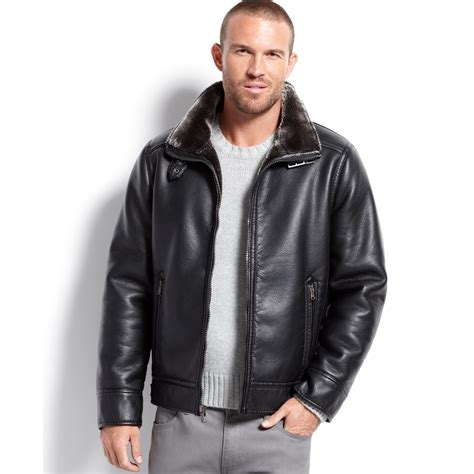 Jacket Calvin calvin klein faux leather faux shearlinglined jacket in black lyst