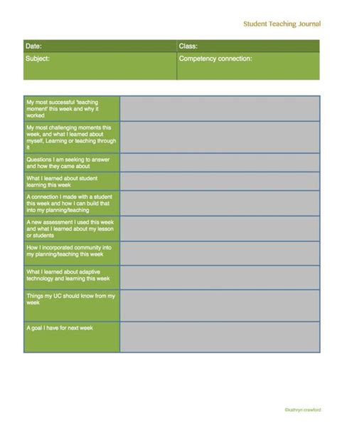 teacher diary template weekly reflection journal template for student teachers