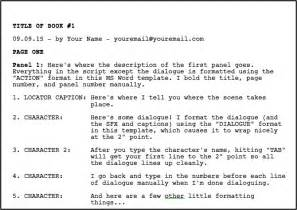 Have asked me for a format template for writing a comic book script