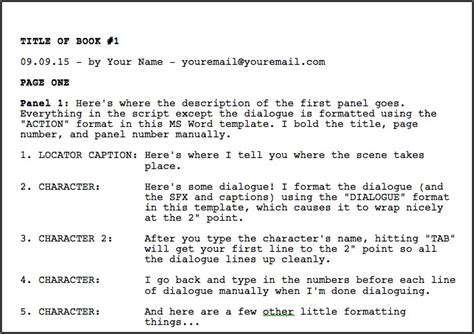 script template word greg pak comic book writer filmmakerdownloadable ms