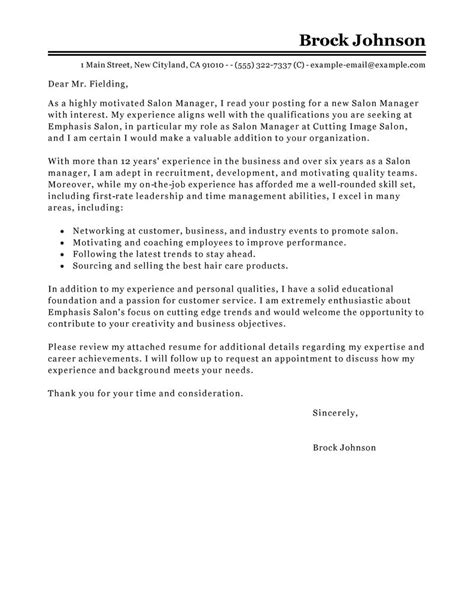 cover letter for a salon receptionist salon manager cover letter sle my cover letter