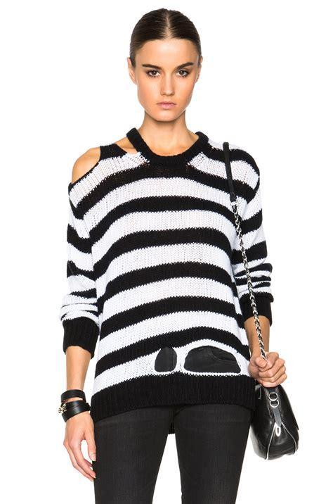 Kemeja Sweater Black White r13 ripped rib sweater in black lyst