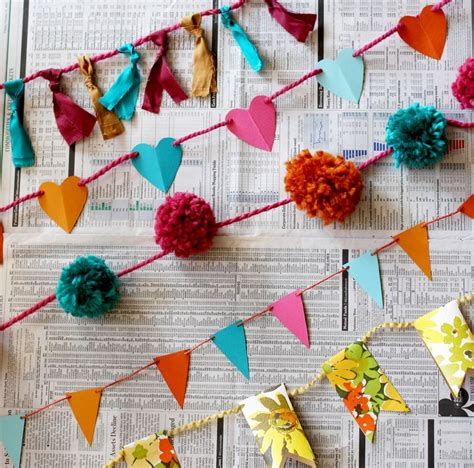 How To Make Paper Bunting Garland - 10 ways to make a garland a beautiful mess