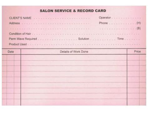 Record Card Template by Hairdressing Record Cards