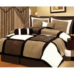 chezmoi collection 7 pieces black brown and white suede patchwork comforter set bed in a bag