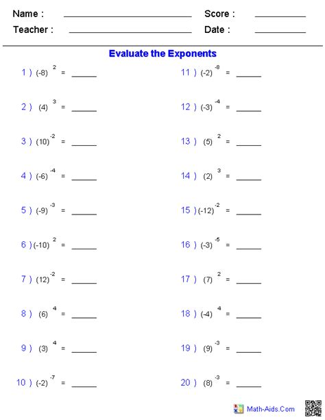 printable math worksheets on exponents math problem for 5th grade new calendar template site