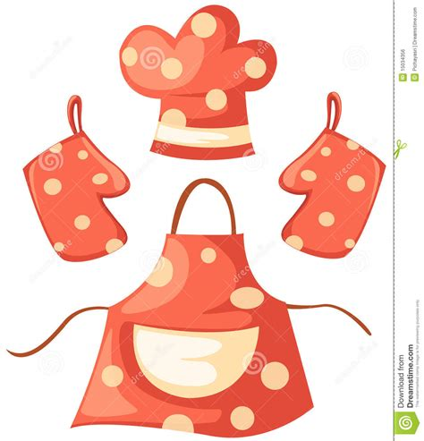 chapeau de cuisine kitchen glove and apron and chef hat stock vector image