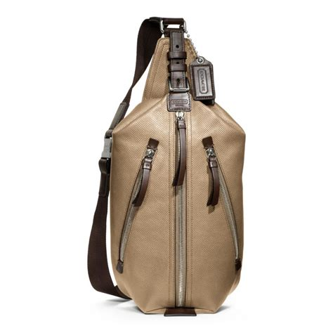 Coach Sling Backpack 2 coach thompson leather perforated sling pack in for lyst