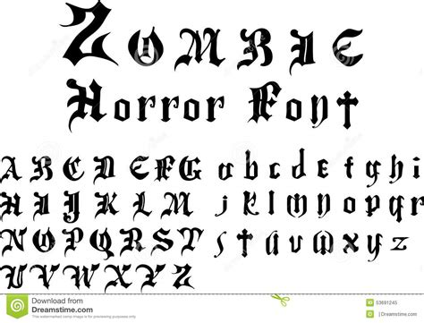 zombie tattoo fonts horror font alphabet stock vector illustration of