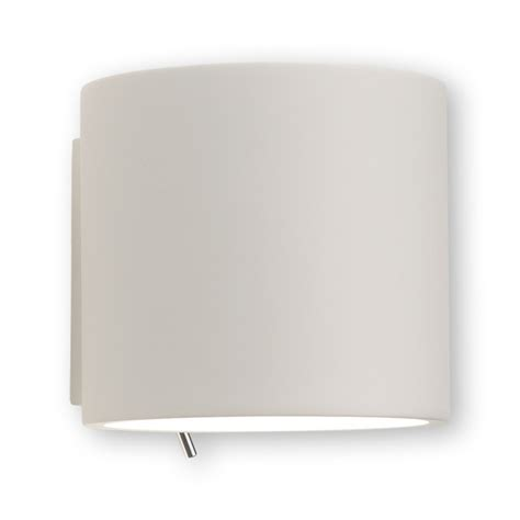 white plaster 60w e27 wall light with rocker switch