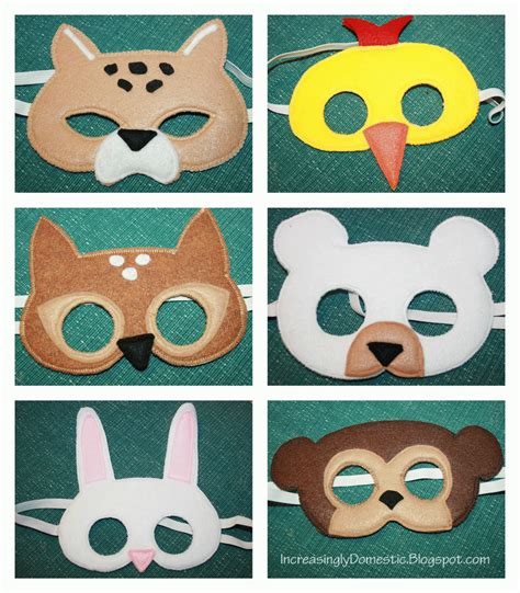 Handmade Animal Masks - increasingly domestic handmade felt animal masks