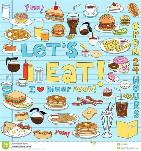 doodle bar food diner food doodles vector illustration set stock vector