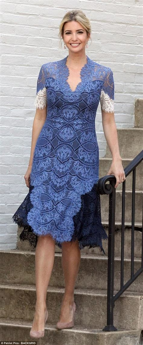 The Daily Mail Uk Fashion by Ivanka Stuns In An Blue Lace Dress Daily