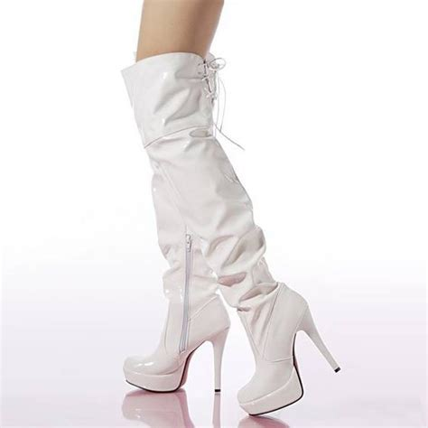 white faux patent leather scrunch lace up thigh high boots