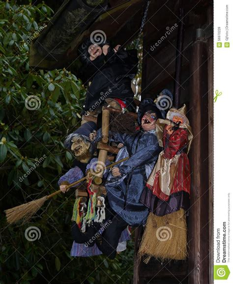 hous com witches near an old house stock illustration image 56970228