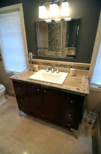 Travertine tile counter top mediterranean bathroom milwaukee