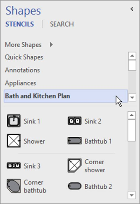 visio kitchen template use the shapes window to organize and find shapes office