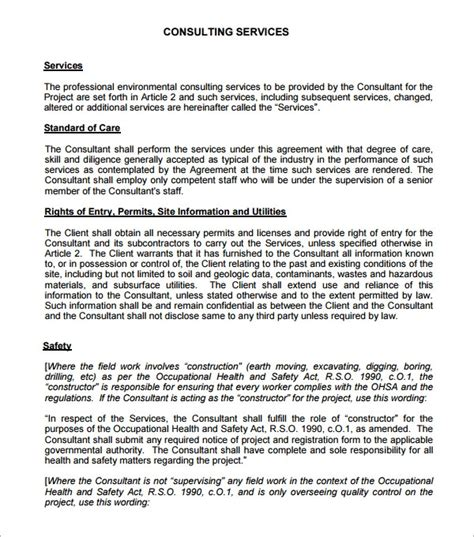 sample  consulting agreement templates sample