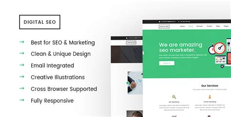 Digital Seo Responsive Seo And Marketing Template By Crazycafe Themeforest Digital Marketing Responsive Website Template Free