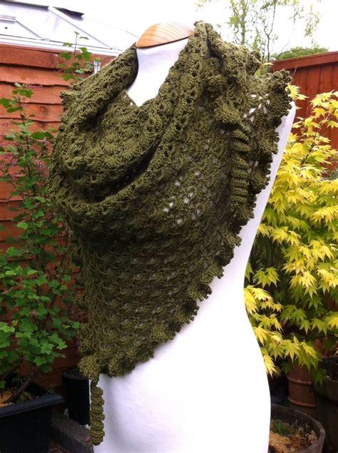 Handmade Crochet For Sale - moss green woollen crochet shawl for sale on