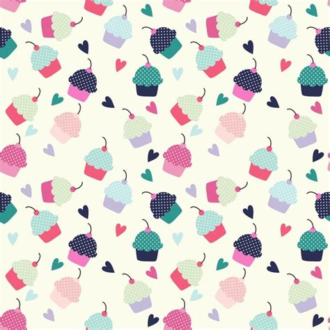 cake background pattern vector cupcake candy hearts sweet food cake cherry patterns free