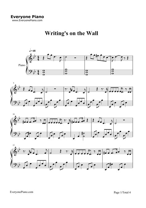 Writing's on the Wall-Spectre Theme Stave Preview