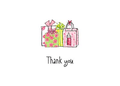 thank you letter baby gift sle pink baby gifts thank you note by adele