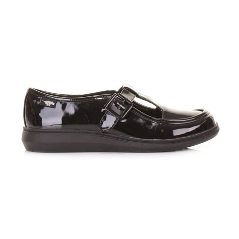 flat patent shoes womens rocket macey black liquid patent t bar flat