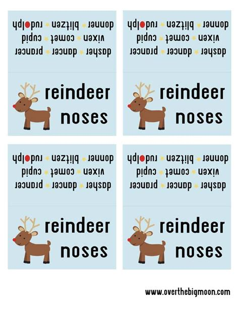 printable reindeer name tags reindeer noses free printable bag topper perfect for a