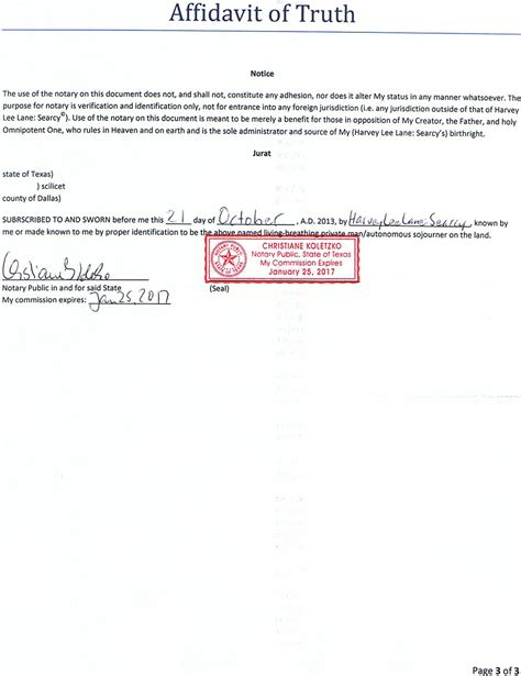 page 3 of 3 of affidavit of truth re850255155us images