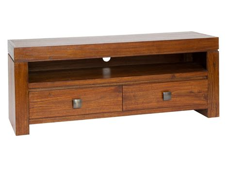mueble colonial mueble tv colonial de madera natural con cajones y estante