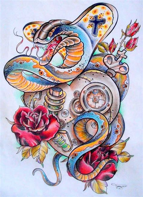 multicolor new snake with roses and mechanical
