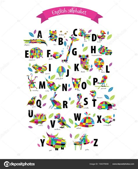 alphabet with animals stock vector vector alphabet with animals stock vector