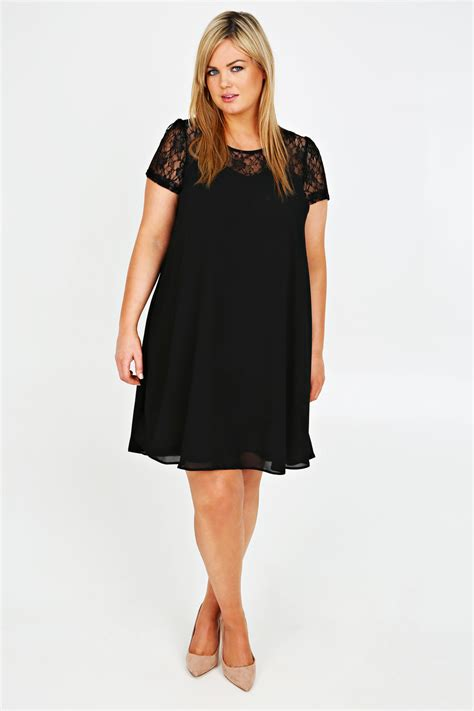 swing kleid schwarz black chiffon swing dress with lace contrast plus size 16
