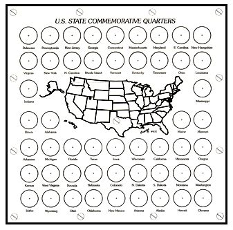 printable state quarter map kids coin project circuskitchen first state quarters of