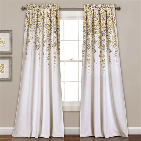 yellow room darkening curtains yellow weeping flowers 84 x 52 inch room darkening window curtain set lush decor panels