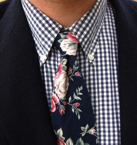 Navy Black Flower Mix blue checkered shirt mix and match with green ties will