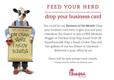 drop your business card to win template fil a eastlake on quot next time you are in our