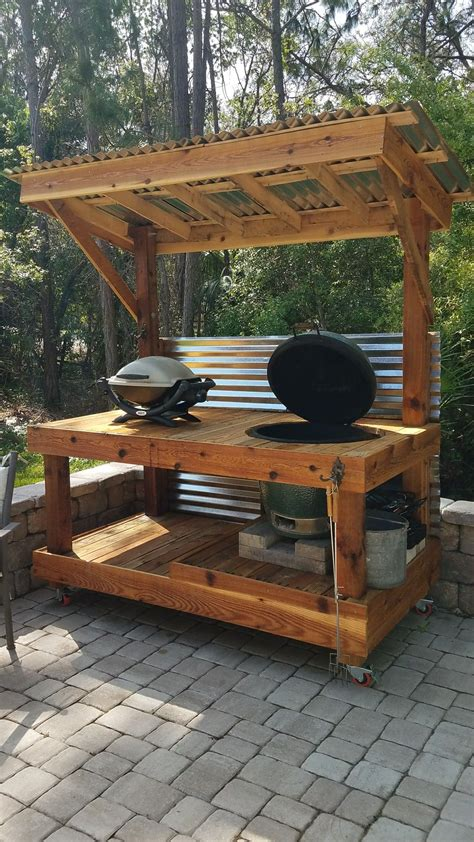 big green egg table outdoor cooking station diy grill