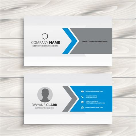 Business Card Template Grey by Blue And Grey Business Card Design Vector Free