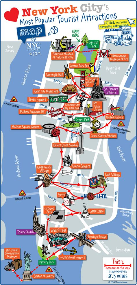 map of nyc with landmarks map of nyc tourist attractions sightseeing tourist tour