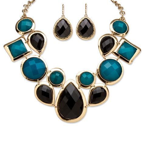Black and Teal Geometric Necklace and Earrings Set in