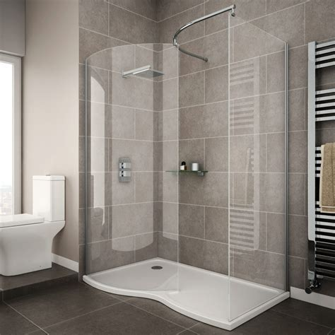 newark curved walk in shower enclosure with tray